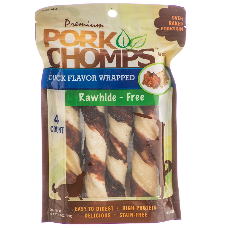 PORK CHOMPS  PREM DUCK TWIST 4CT