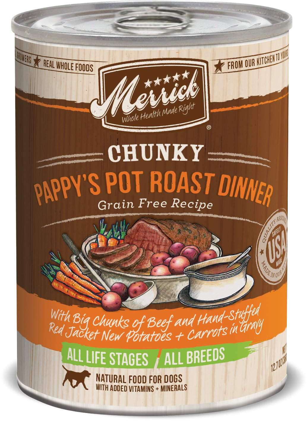 Merrick Chunky Pappy's Pot Roast Dinner 12.7oz 12 Count Case