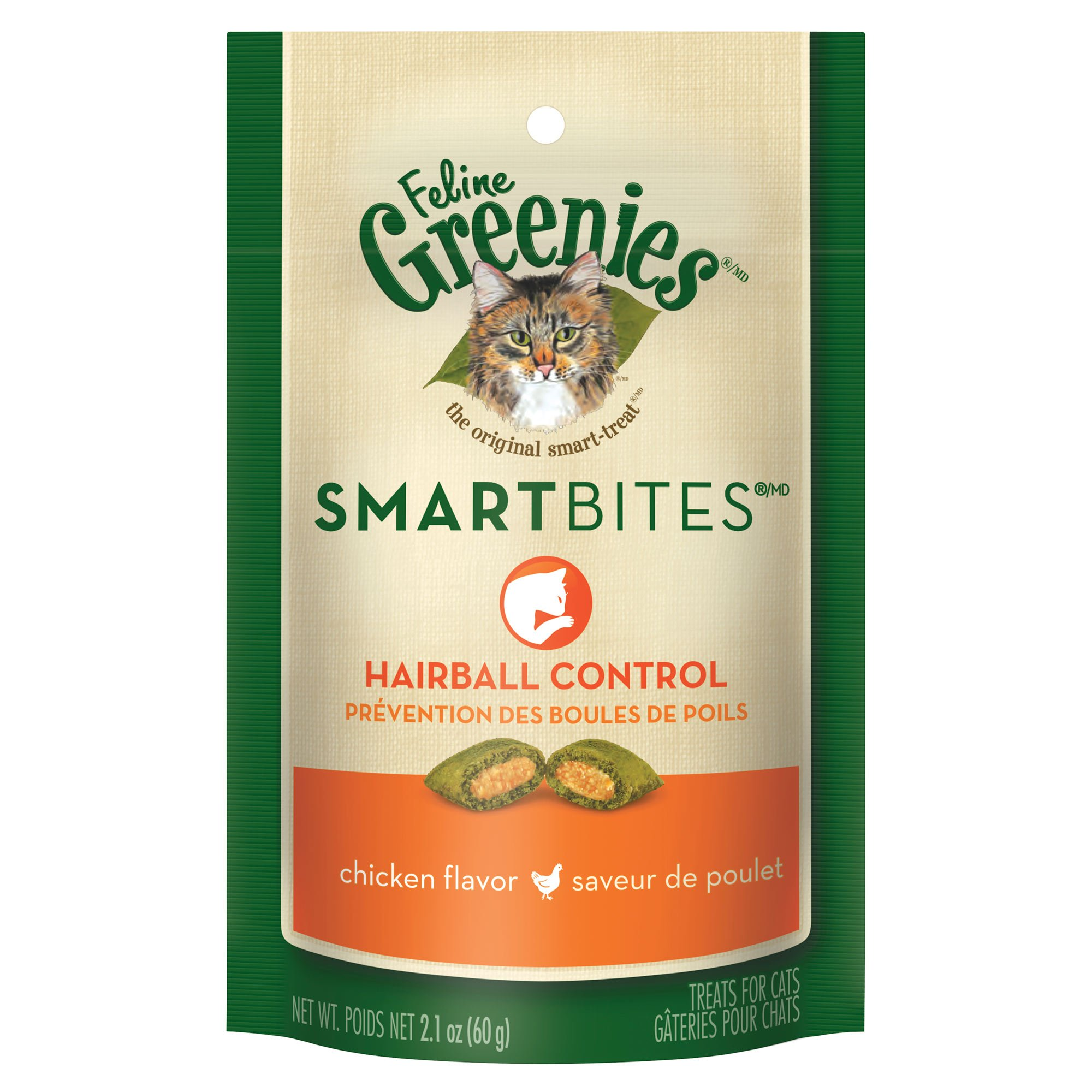 Greenies Smartbites Hairball Control Chicken Cat Treats 2.1oz