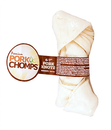 Pork Chomps Natural Knot Bone Wrapped 6-7in