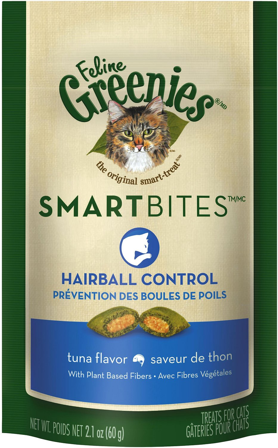 Greenies Smartbites Hairball Control Tuna Cat Treats 2.1oz