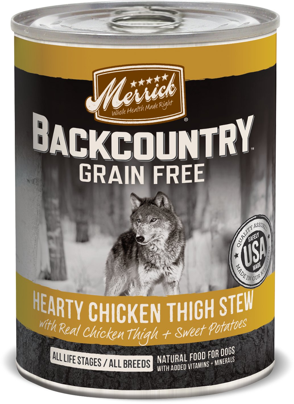 Merrick Backcountry Hearty Chicken Thigh Stew 12.8oz 12 Count Case