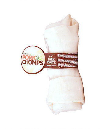 Pork Chomps Natural Knot Bone Wrapped 8-9in