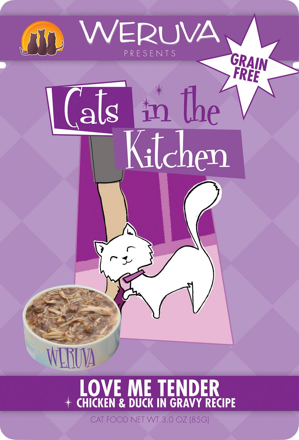 Weruva Cats in the Kitchen Love Me Tender Chicken & Duck Recipe Cat Food Pouches 3oz pouch, case of 12
