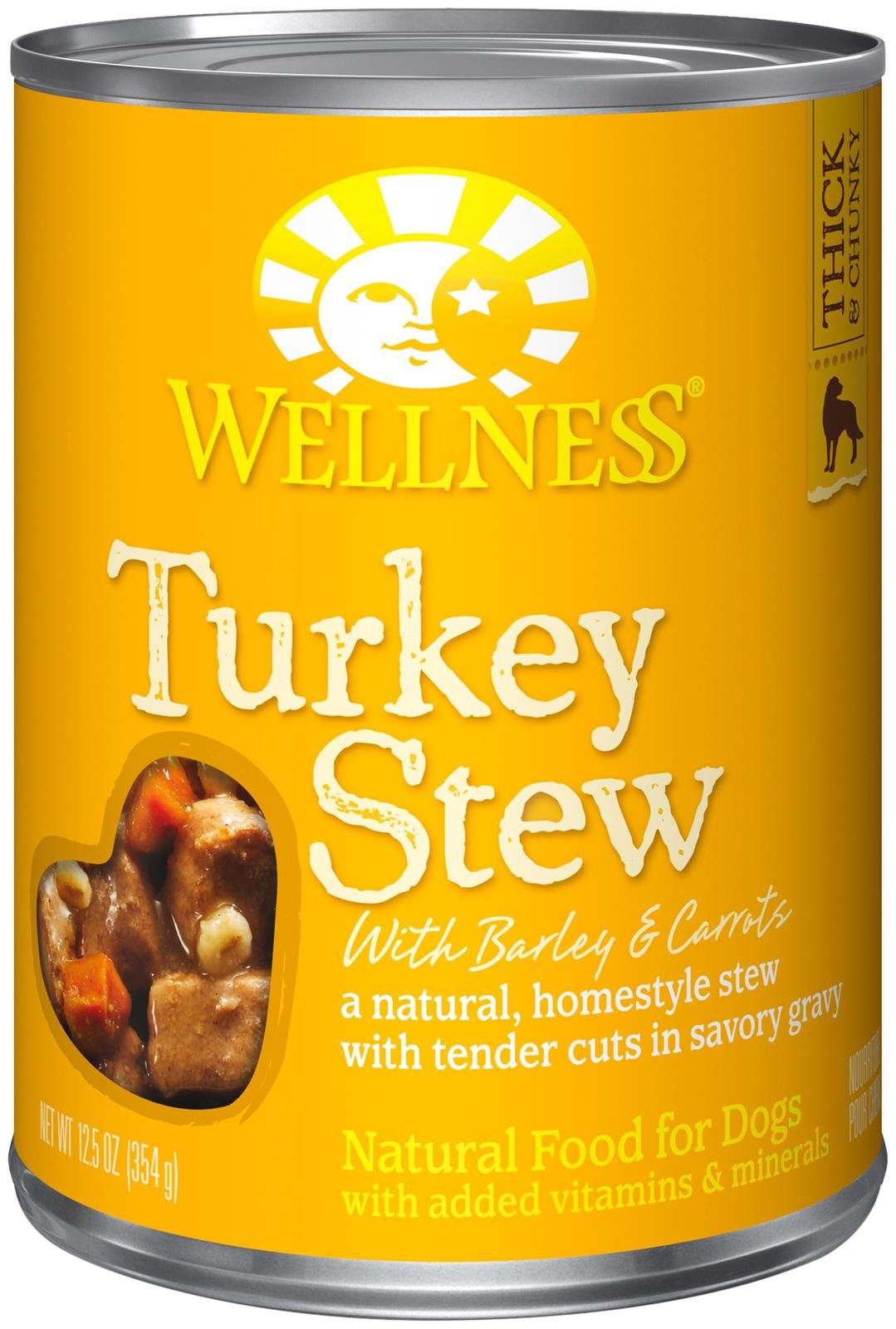 Wellness Turkey Stew 12.5oz Canned Dog Food, Case of 12