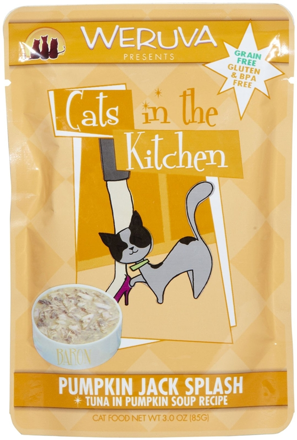 Weruva Cats in the Kitchen Pumpkin Jack Splash Tuna in Pumpkin Soup Cat Food Pouches 3oz pouch, case of 12