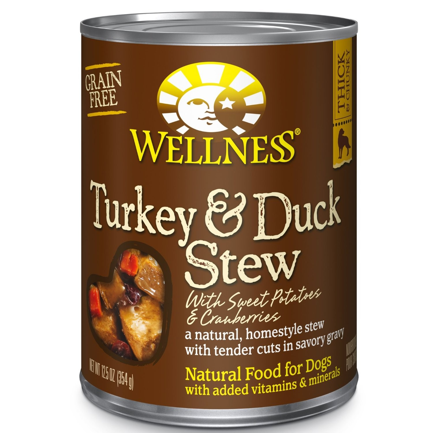Wellness Turkey and Duck Stew 12.5oz Canned Dog Food, Case of 12