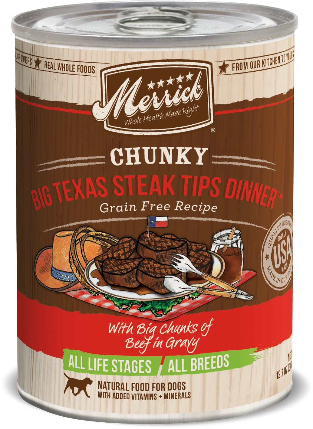 Merrick Chunky Big Texas Steak Tips Dinner 12.7oz 12 Count Case
