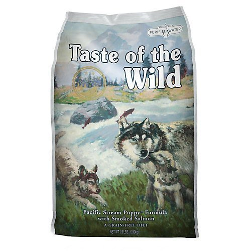 Taste of the Wild Pacific Stream Grain-Free Smoked Salmon Dry Puppy Food, 28 lbs.