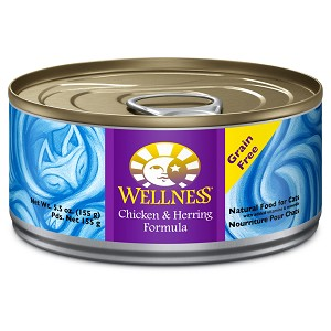 Wellness Chicken and Herring Pate Grain Free Canned Cat Food 5.5oz, Case of 24