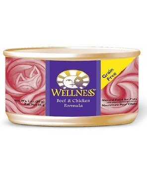 Wellness Beef and Chicken Pate Grain Free Canned Cat Food 5.5oz, Case of 24