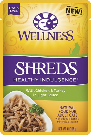 Wellness Healthy Indulgence Shreds Chicken and Turkey 3oz, Case of 12