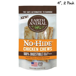 Earth Animal No Hide 4 inches Chicken Dog Chew 2ct