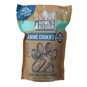 Howls Kitchen Canine Cookies Skin & Coat Lamb & Blueberry 10 Oz