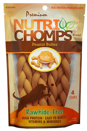 Nutri Chomps Peanut Butter Braid 6inch, 4 Count Package