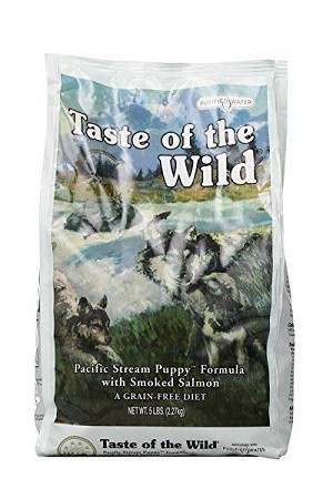 Taste of the Wild Pacific Stream Grain-Free Smoked Salmon Dry Puppy Food, 5 lbs