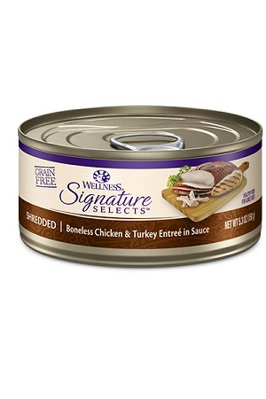 Wellness Grain Free Shredded Chicken and Turkey Canned Cat Food 5.3oz, Case of 24