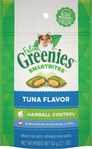 Feline Greenies Smart Bite Tuna Flavor Hairball Control, 2.1oz