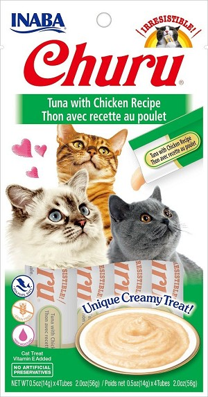 Inaba Churu Tuna with Chicken Lickable Cat Treat, 0.5oz tube pack of 4