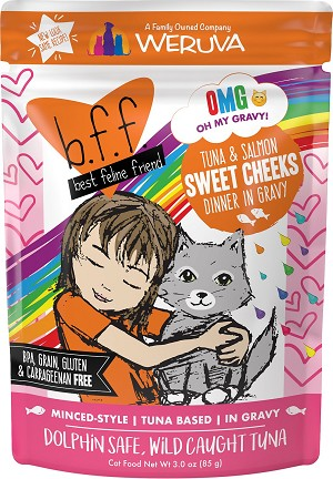 Weruva BFF Tuna & Salmon Sweet Cheeks Dinner in Gravy Wet Cat Food Pouches 3oz, case of 12